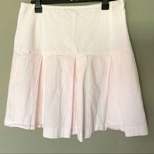 Casual Corner Seersucker Pink pleated skirt Sz 10